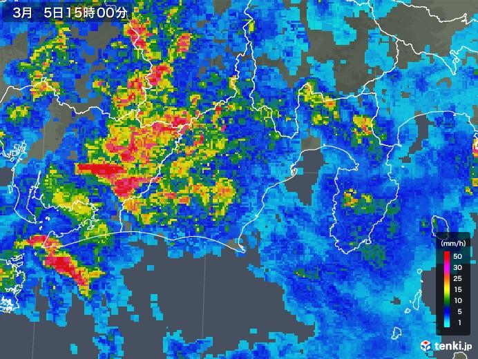 静岡県の雨雲レーダー(2018年03月05日)