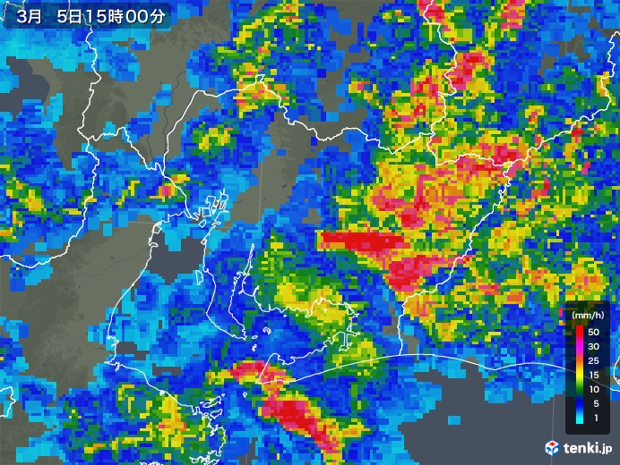 愛知県の雨雲レーダー(2018年03月05日)