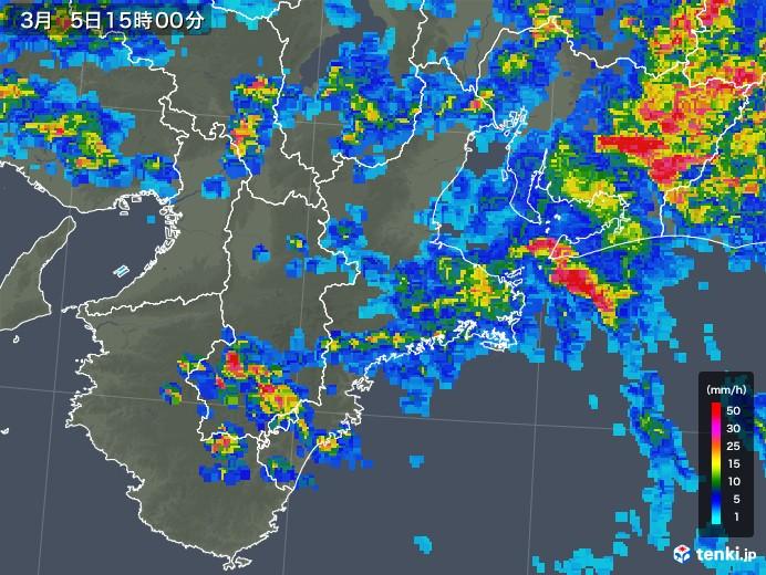 三重県の雨雲レーダー(2018年03月05日)