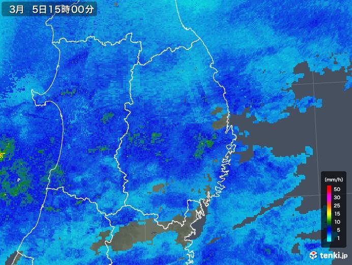 岩手県の雨雲レーダー(2018年03月05日)