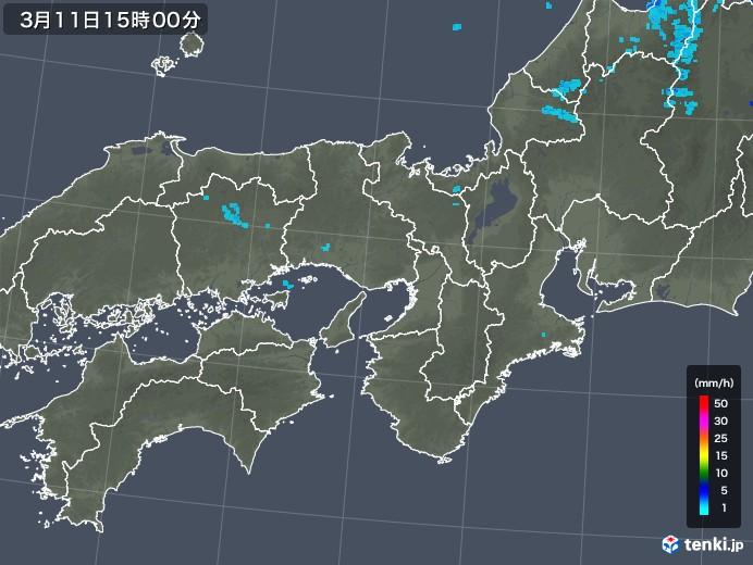 近畿地方の雨雲レーダー(2018年03月11日)