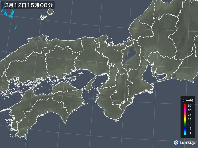 近畿地方の雨雲レーダー(2018年03月12日)