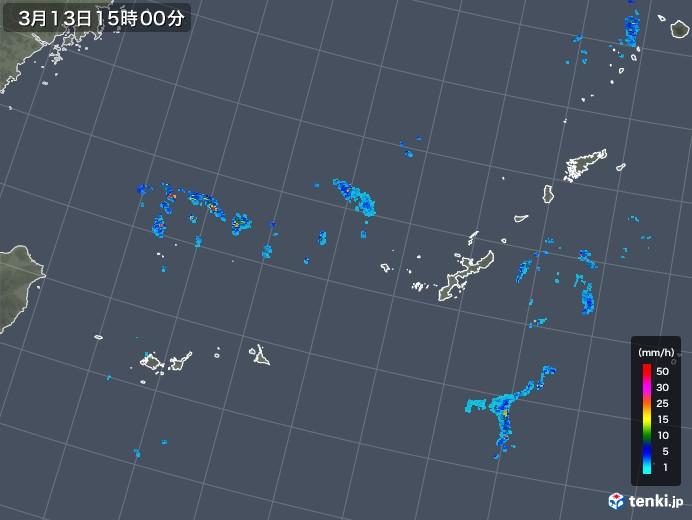 沖縄地方の雨雲レーダー(2018年03月13日)