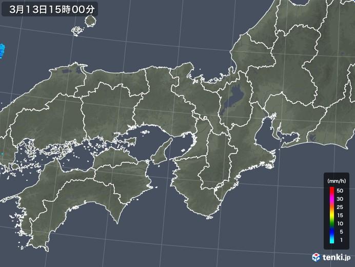 近畿地方の雨雲レーダー(2018年03月13日)