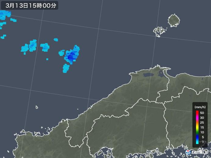 島根県の雨雲レーダー(2018年03月13日)