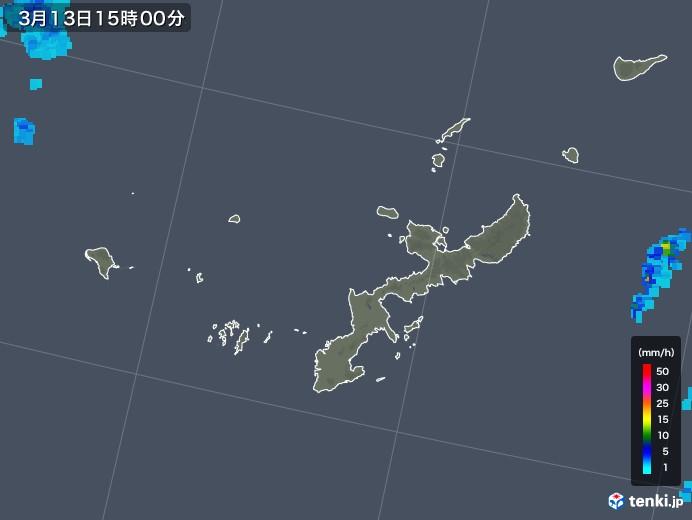 沖縄県の雨雲レーダー(2018年03月13日)