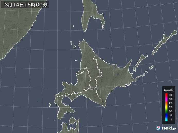 北海道地方の雨雲レーダー(2018年03月14日)