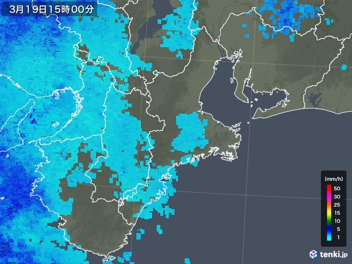 三重県の雨雲レーダー(2018年03月19日)