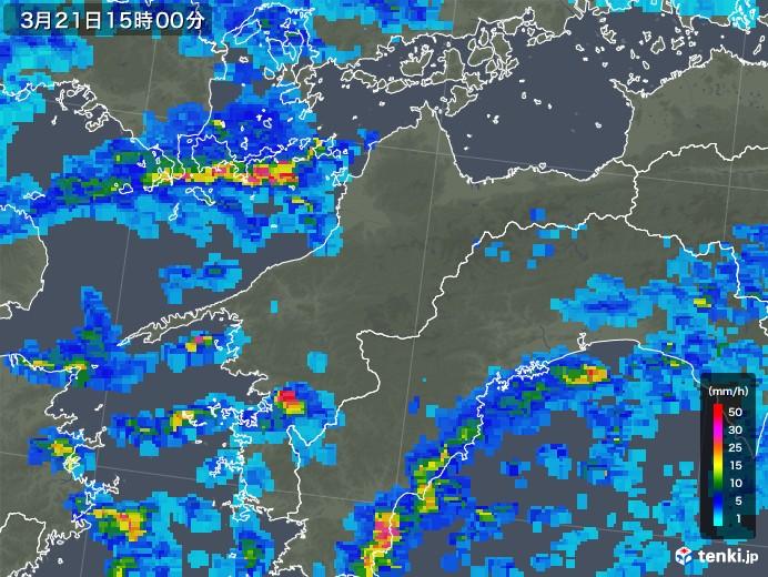 愛媛県の雨雲レーダー(2018年03月21日)