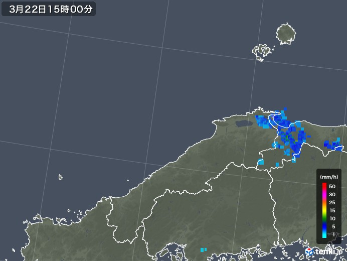 島根県の雨雲レーダー(2018年03月22日)