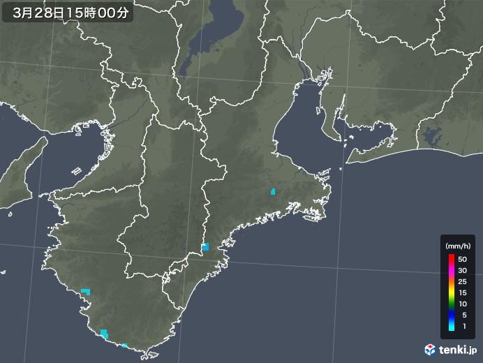 三重県の雨雲レーダー(2018年03月28日)