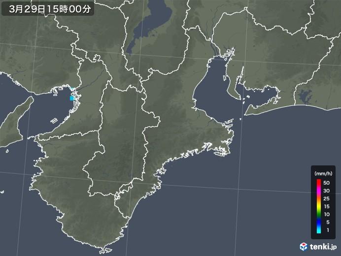 三重県の雨雲レーダー(2018年03月29日)