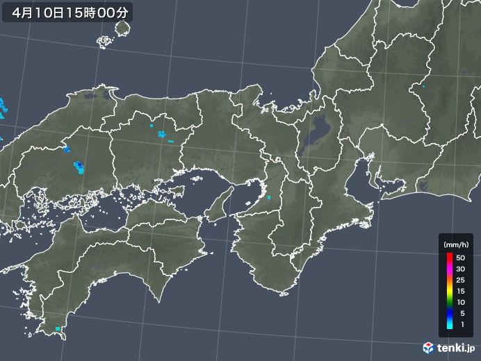 近畿地方の雨雲レーダー(2018年04月10日)