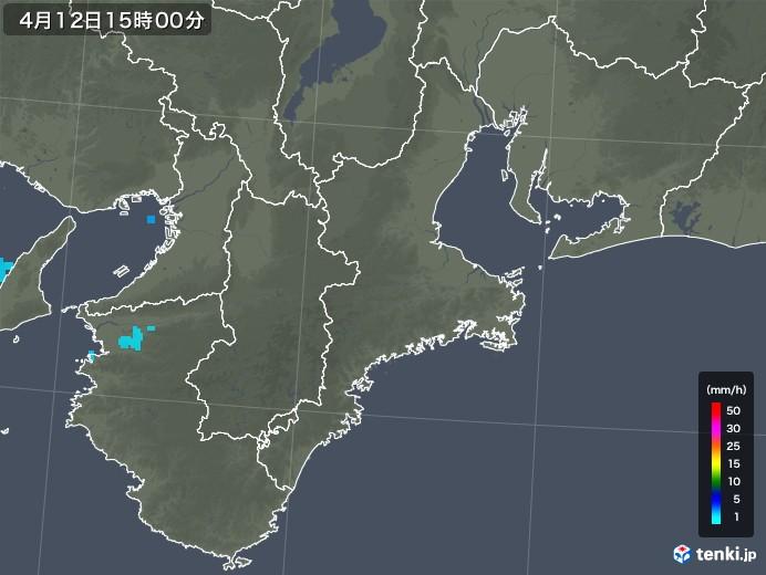三重県の雨雲レーダー(2018年04月12日)