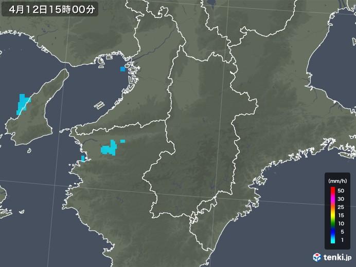 奈良県の雨雲レーダー(2018年04月12日)