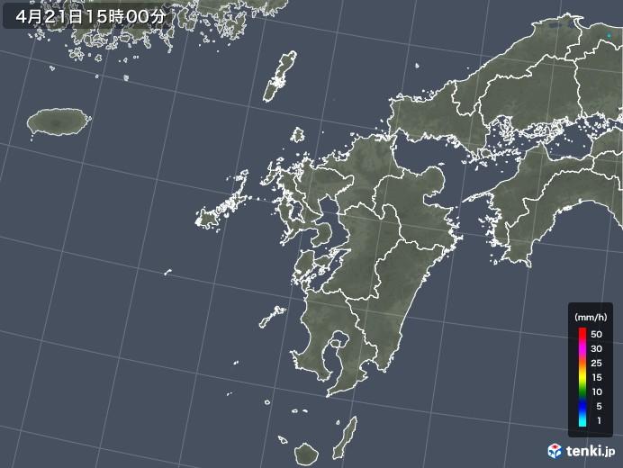 九州地方の雨雲レーダー(2018年04月21日)
