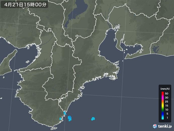 三重県の雨雲レーダー(2018年04月21日)
