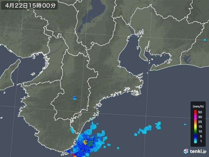三重県の雨雲レーダー(2018年04月22日)