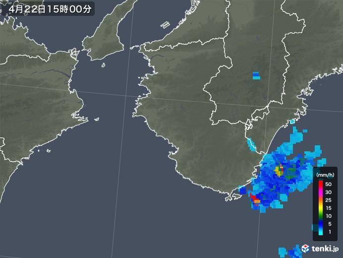 和歌山県の雨雲レーダー(2018年04月22日)
