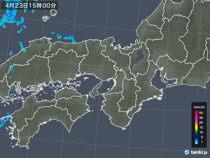 近畿地方の雨雲レーダー(2018年04月23日)