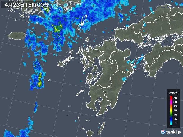九州地方の雨雲レーダー(2018年04月23日)