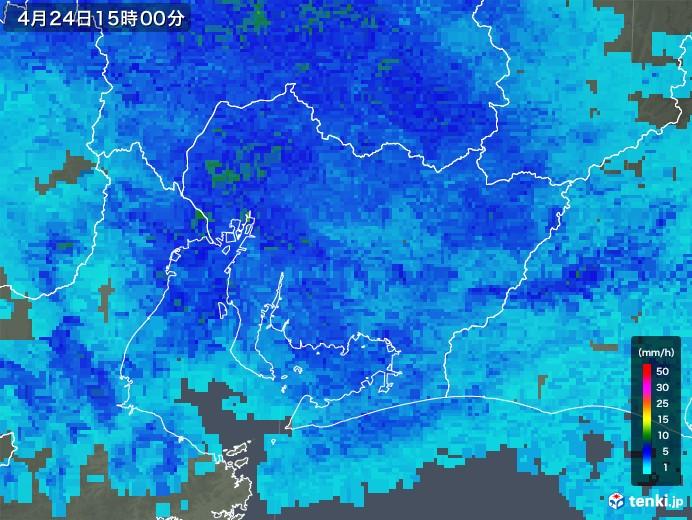 愛知県の雨雲レーダー(2018年04月24日)
