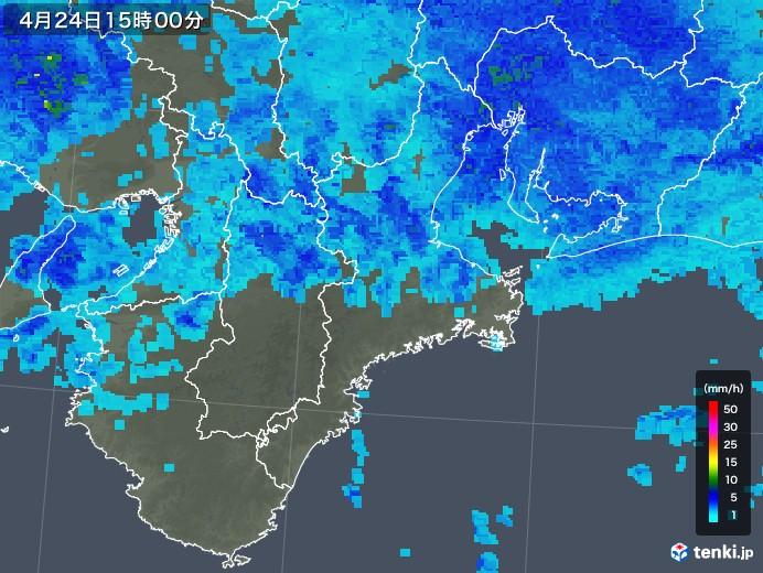 三重県の雨雲レーダー(2018年04月24日)