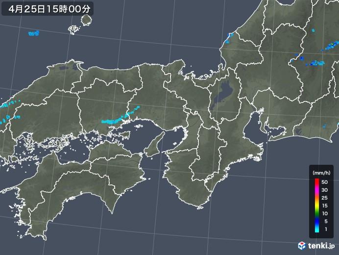 近畿地方の雨雲レーダー(2018年04月25日)