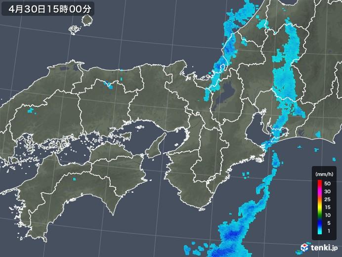近畿地方の雨雲レーダー(2018年04月30日)