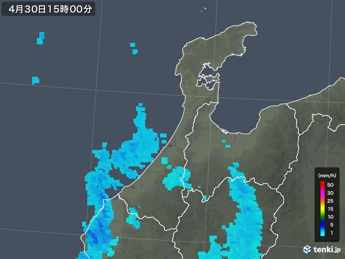 石川県の雨雲の動き(2018年04月30日)