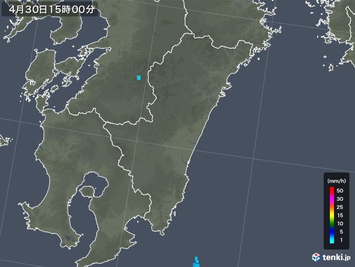 宮崎県の雨雲レーダー(2018年04月30日)
