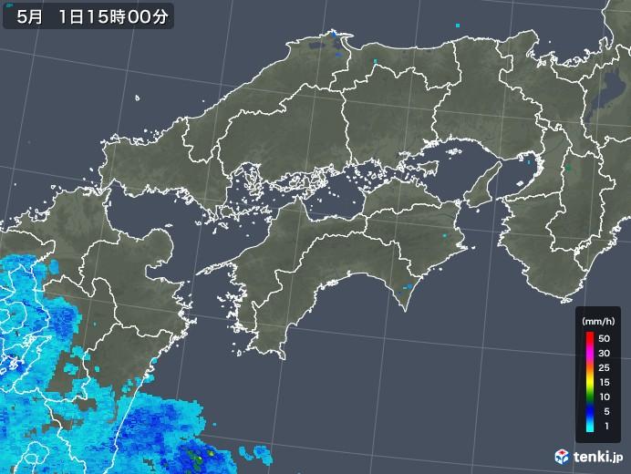 四国地方の雨雲レーダー(2018年05月01日)