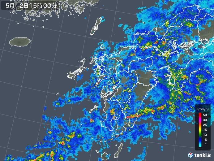 九州地方の雨雲レーダー(2018年05月02日)