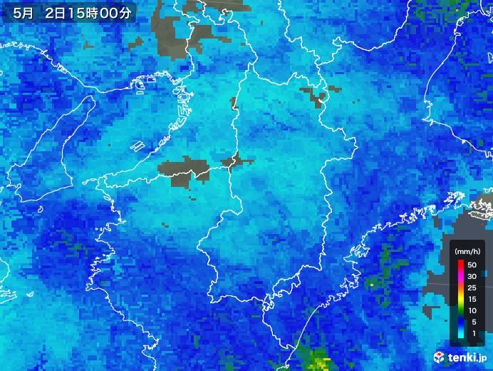 奈良県の雨雲レーダー(2018年05月02日)