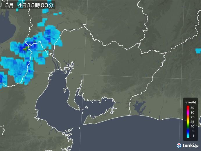 愛知県の雨雲レーダー(2018年05月04日)