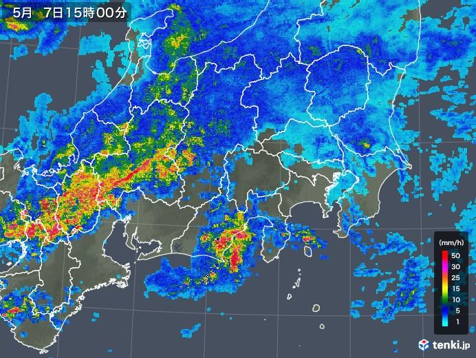 関東・甲信地方の雨雲の動き(2018年05月07日)