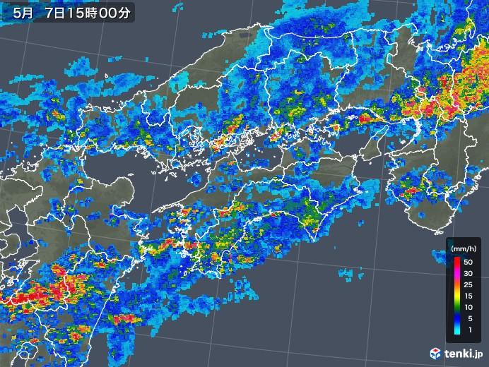 四国地方の雨雲の動き(2018年05月07日)