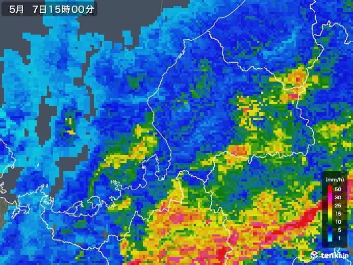 福井県の雨雲の動き(2018年05月07日)