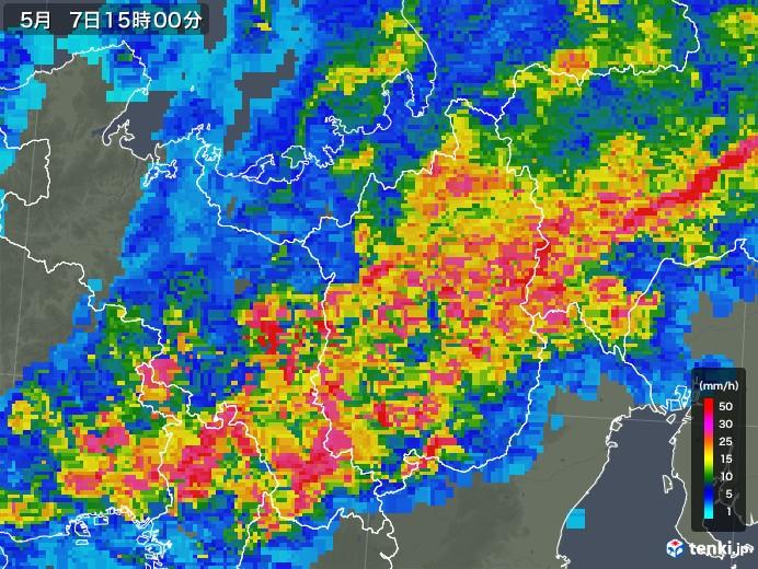 滋賀県の雨雲の動き(2018年05月07日)