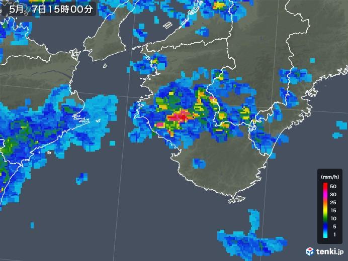 和歌山県の雨雲の動き(2018年05月07日)
