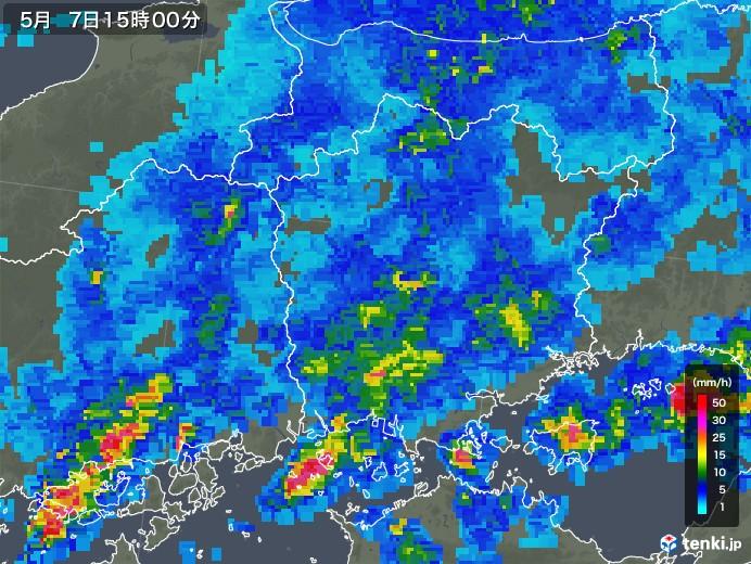 岡山県の雨雲の動き(2018年05月07日)