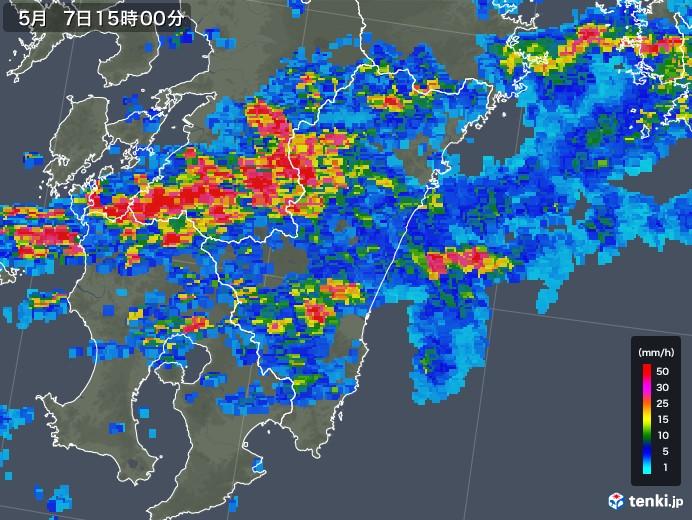宮崎県の雨雲の動き(2018年05月07日)