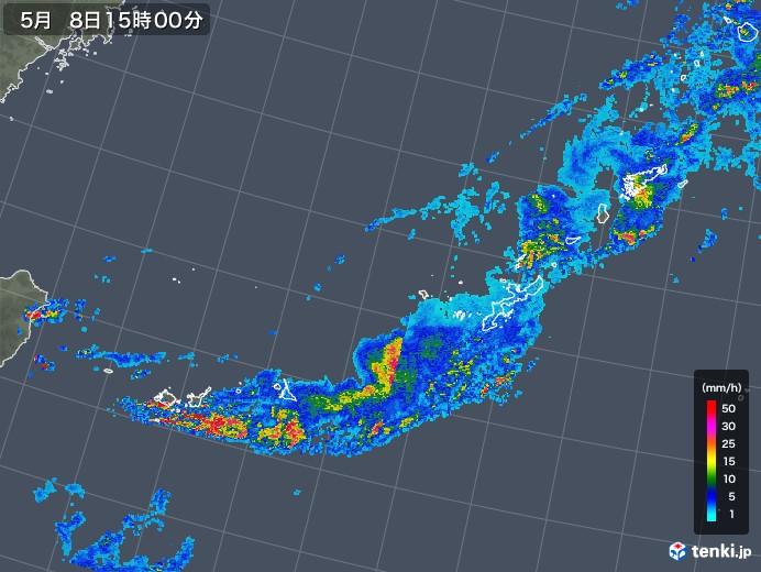 沖縄地方の雨雲レーダー(2018年05月08日)