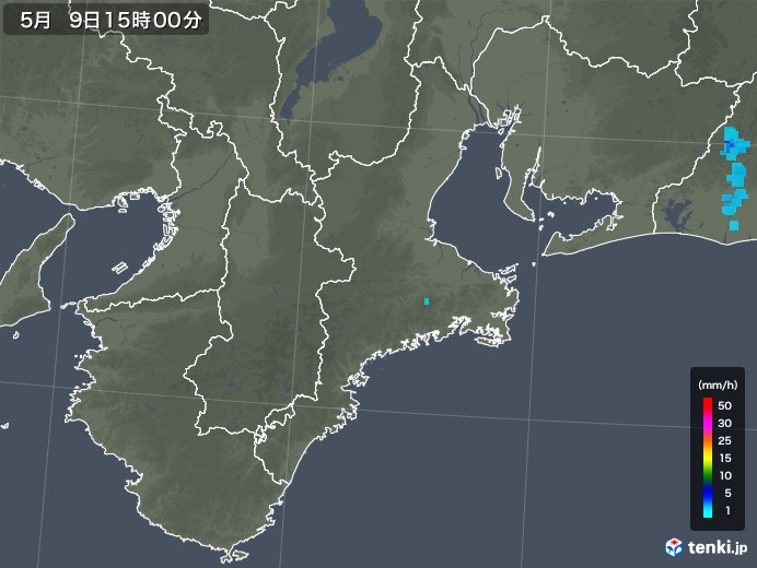 三重県の雨雲レーダー(2018年05月09日)
