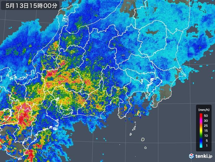 関東・甲信地方の雨雲の動き(2018年05月13日)