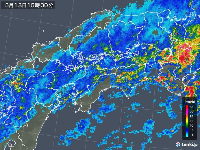 四国地方の雨雲の動き(2018年05月13日)