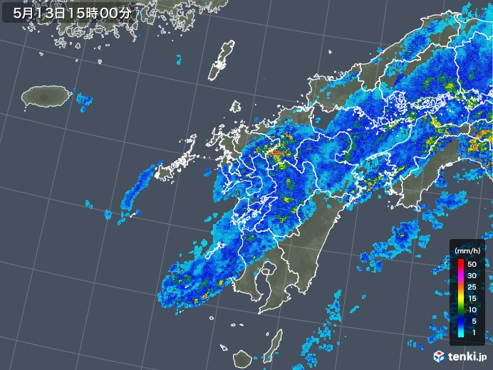 九州地方の雨雲の動き(2018年05月13日)