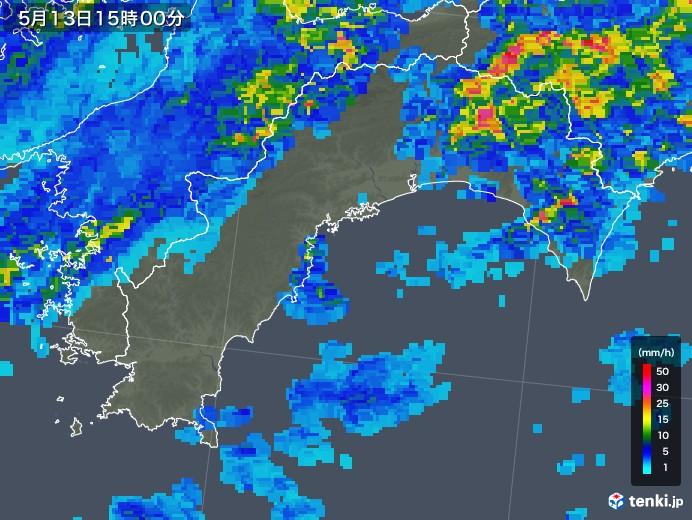 高知県の雨雲の動き(2018年05月13日)
