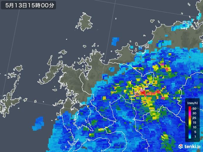 佐賀県の雨雲の動き(2018年05月13日)