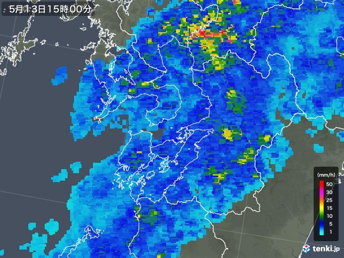 熊本県の雨雲の動き(2018年05月13日)